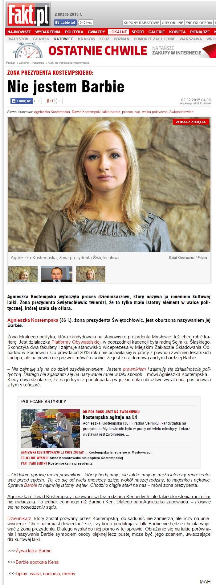 Ataki na Agnieszkę Kostempską